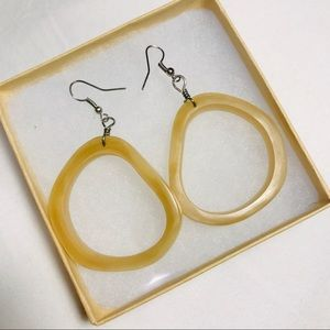 Natural stone circle earrings